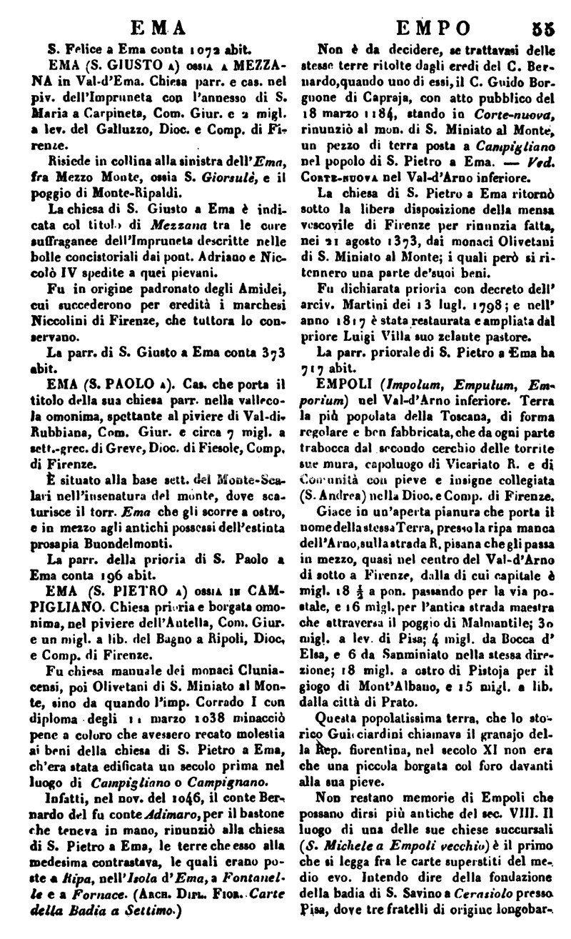 Empoli Nel Dizionario Geografico Fisico Storico Di Emanuele Repetti