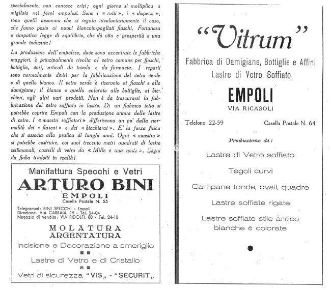 Pubblicità Vetraria 1939