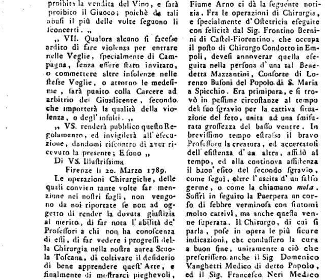 Cronaca Di Un Parto Spicchiese Del 1789