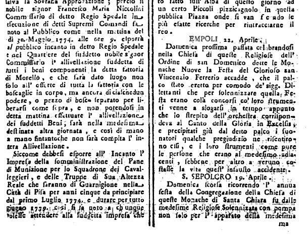 """22 Aprile 1774: Festa Solenne Dalle """"Monache Nuove""""… Con Imprevisto – Di Carlo Pagliai"""