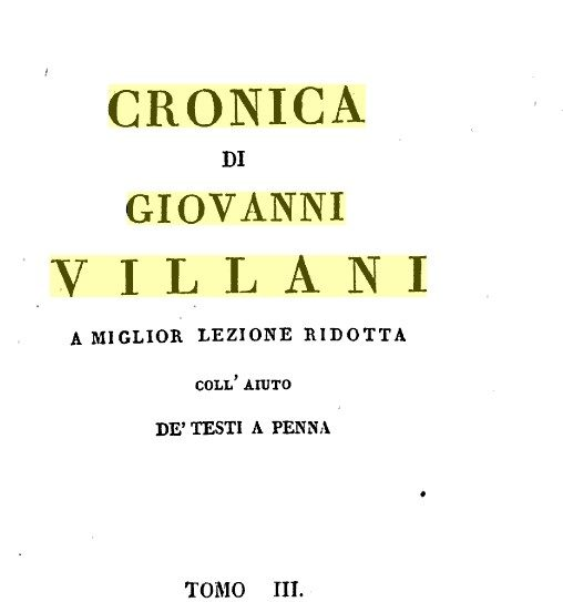 Empoli In Alcune Rubriche Della Nuova Cronica Di Giovanni Villani – Di Carlo Pagliai