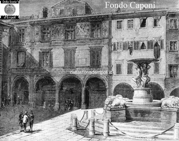 Palazzo Ghibellino, incisione in cui son leggibili gli affreschi in facciata e la ex torre Del Papa sulla sommità
