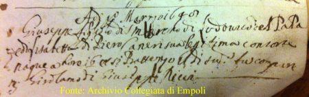 Atto Battesimo Giuseppe Del Papa