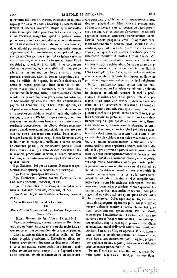 [doc. Originale]: Bolla Papale Di Nicola II Per La Plebania Di S. Andrea Di Empoli, Anno 1059 (da Patrologia Latina)