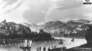 Veduta di Capraia e Montelupo nell'incisione di Antonio e Jacopo Terreni
