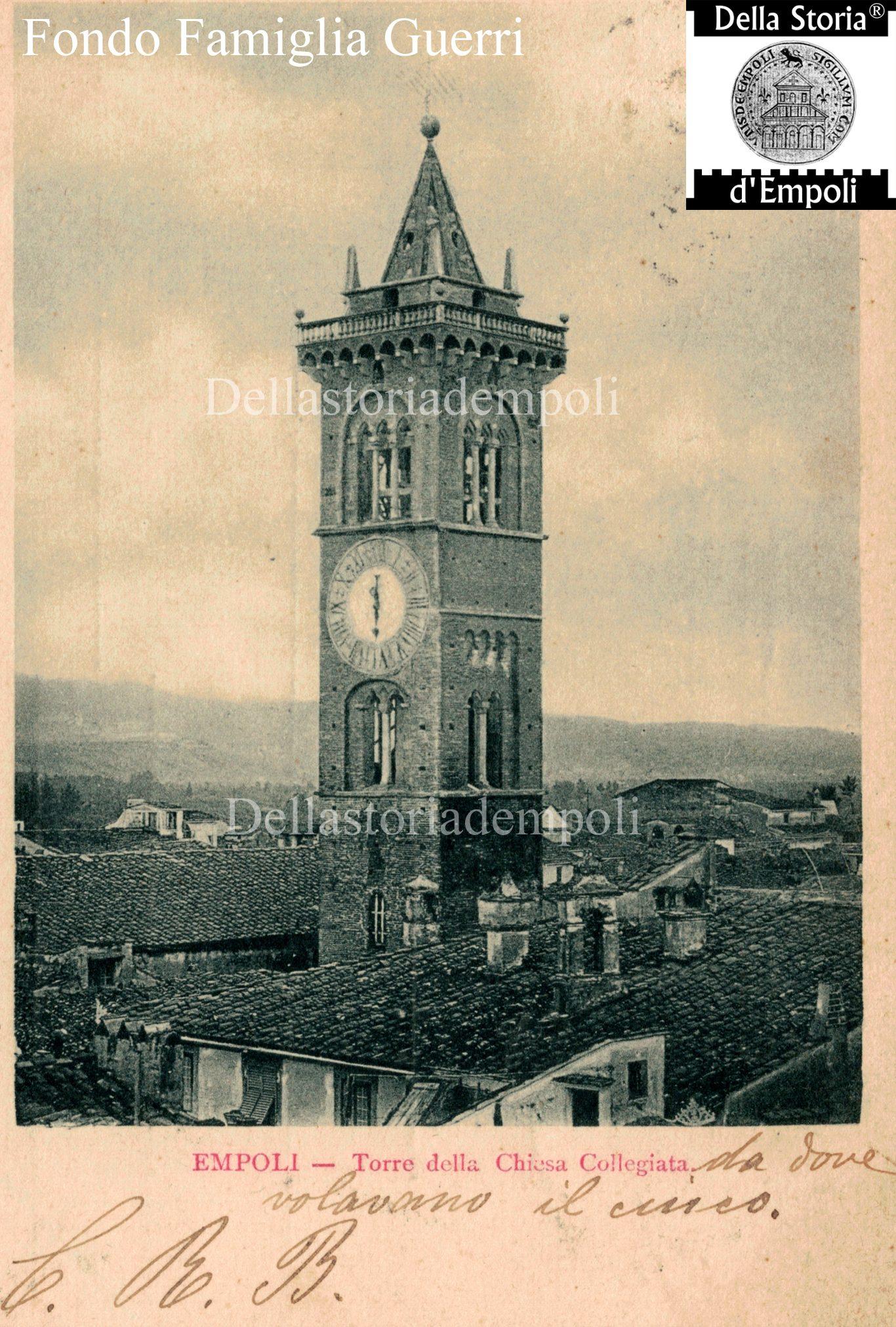 Empoli - Campanile Collegiata Cartolina Viaggiata Nel 1900