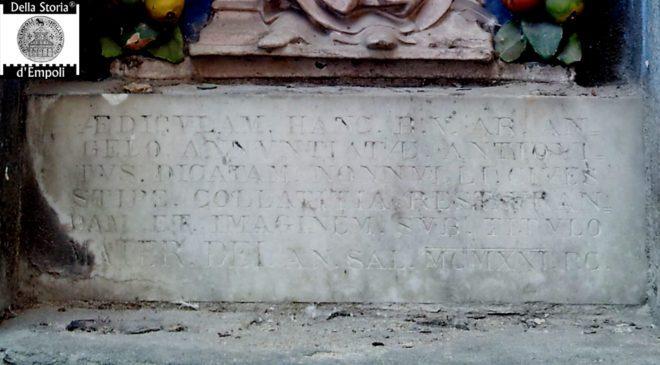 Empoli - Tabernacolo madonna al Magazzin del sale iscrizione