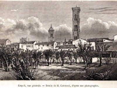 Xilografia Panoramica Sud Del Castello Di Empoli 1876