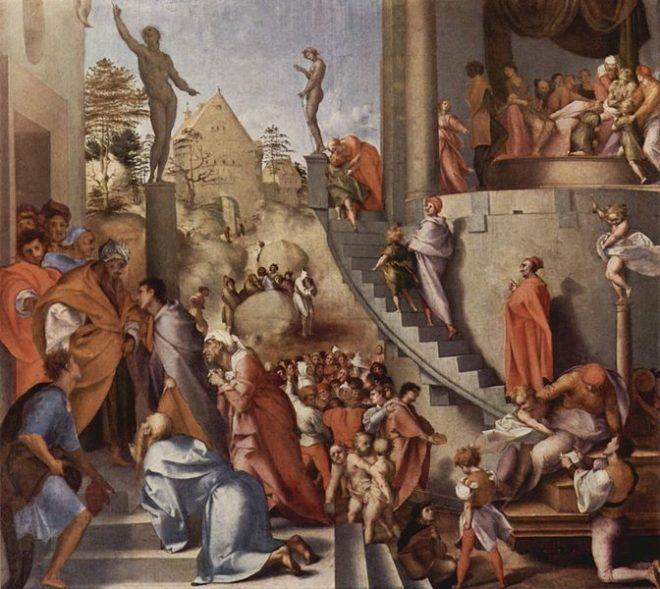 Giuseppe e Giacobbe in Egitto, Pontormo, 1517-1518 - WikiCommons pubblico dominio