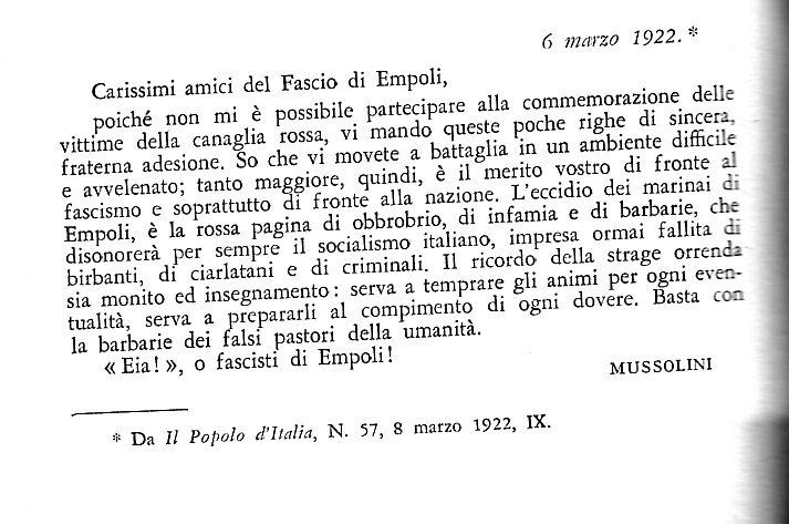 """Un Telegramma Al Fascio Di Empoli Da Mussolini Per I """"Fatti Del '21"""""""