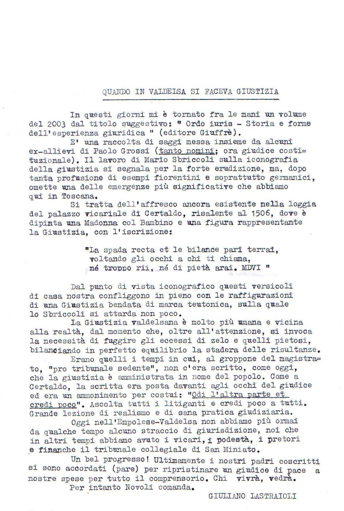 Giuliano Lastraioli: Quando In Valdelsa Si Faceva Giustizia