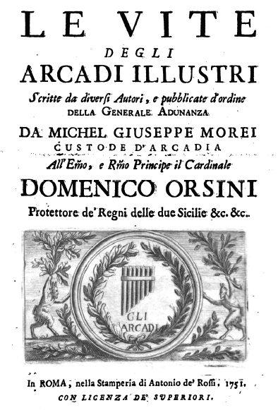 Le Vite Degli Arcadi Illustri Scritte Da Vari Autori – Giovanni Bottari Su Giuseppe Del Papa