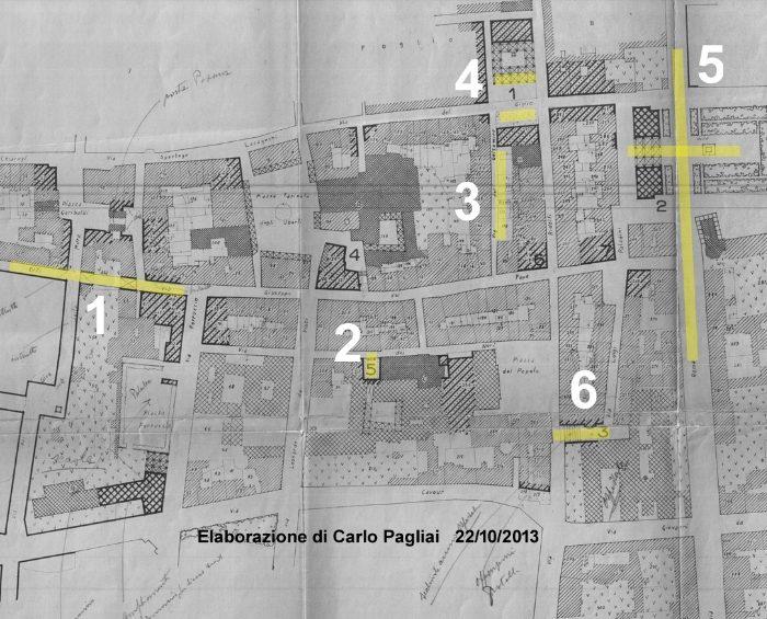 Piano di Ricostruzione 1947 foglio 16 con etichette intervento