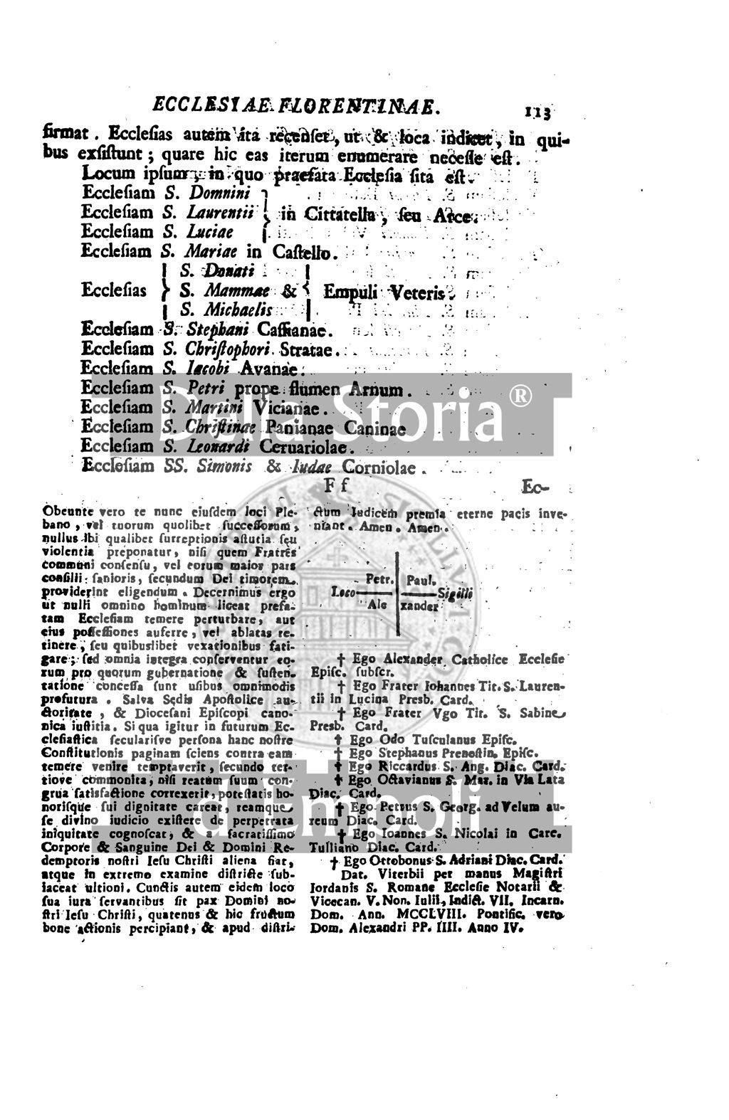 1258, 03 Luglio: Bolla Papale Di Alessandro IV A Conferma Di Possessi E Privilegi