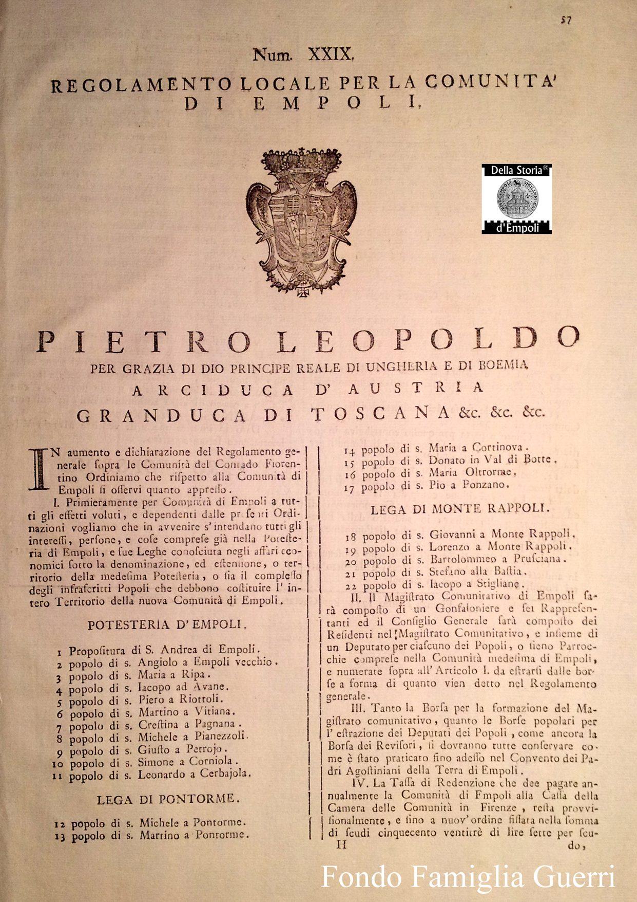 1774, Pietro Leopoldo E La Costituzione Della Comunità Di Empoli