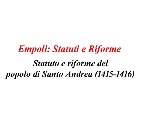 Statuto Comunale Di Empoli (1415-1416) – Di Carlo Pagliai