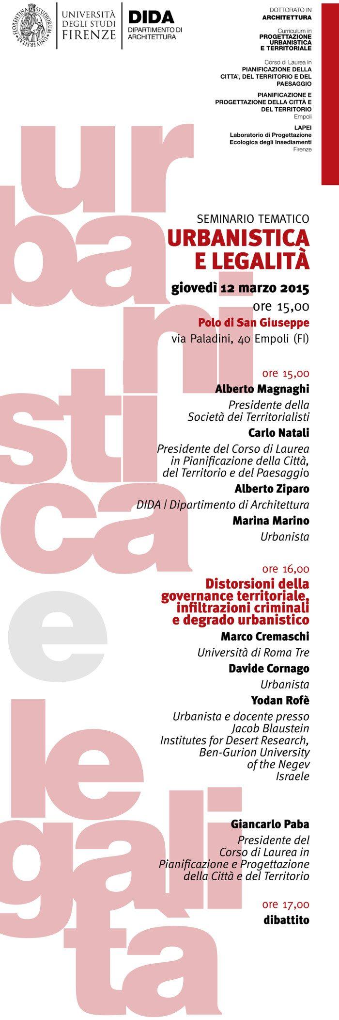 Urbanistica E Legalità: Giovedì 12 Marzo Ore 15:00 @ Empoli