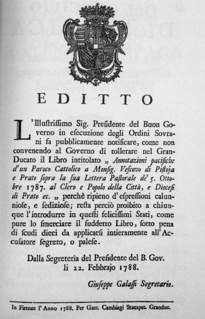 editto pietro leopoldo 1788