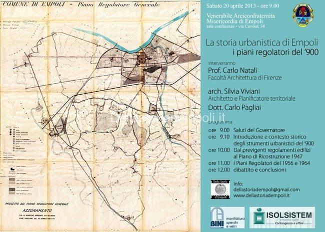 """Sab 20 Apr. Ore 9.00: Conferenza """"La Storia Urbanistica Di Empoli – I Piani Regolatori Del '900"""""""
