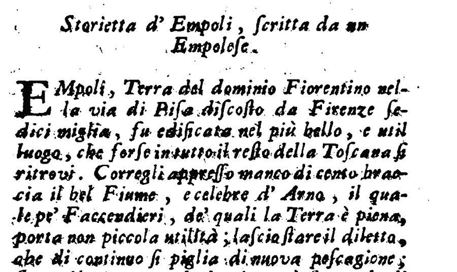 Storietta D'Empoli Dell'Anonimo Empolese, Pubblicata Da G. Lami Nel 1741: Documento Originale