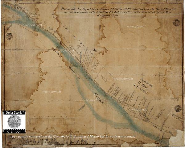 Pianta Delle Due Imposizioni A Sinistra Del Fiume Arno 1795