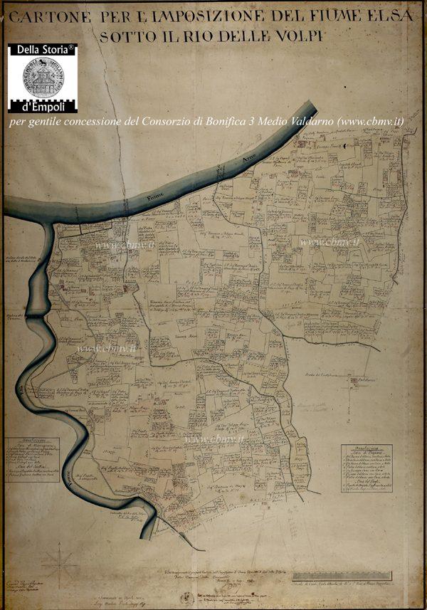 Mappa N 09 Imposizione Elsa In Loc. Carraja E Moretta (Marcignana) 1818 Luigi Martini