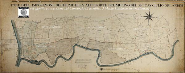 mappa n 12 Imposizione del Fiume Elsa 1820 di Luigi Martini