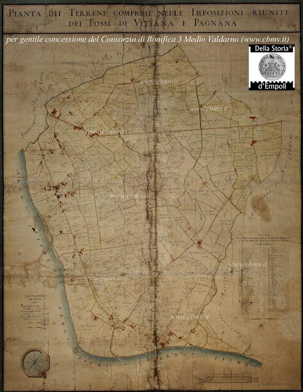 mappa n 16 Imposizione dei fossi di Vitiana e Pagnana 1804 di Marco Moretti