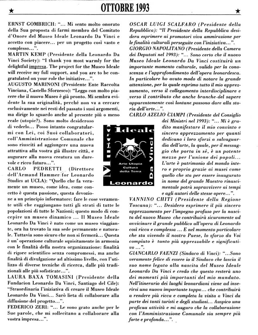 Venti Anni Del Museo Ideale Leonardo Da Vinci: Ottobre 1993-2013