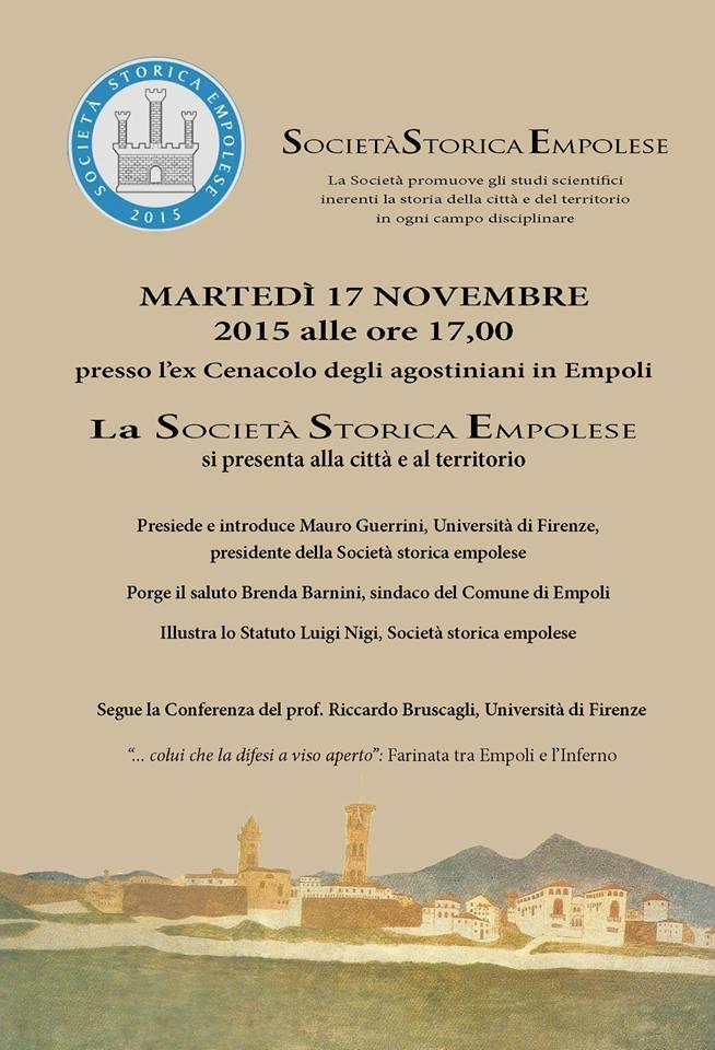 17 Novembre: La Società Storica Empolese Si Presenta Alla Città